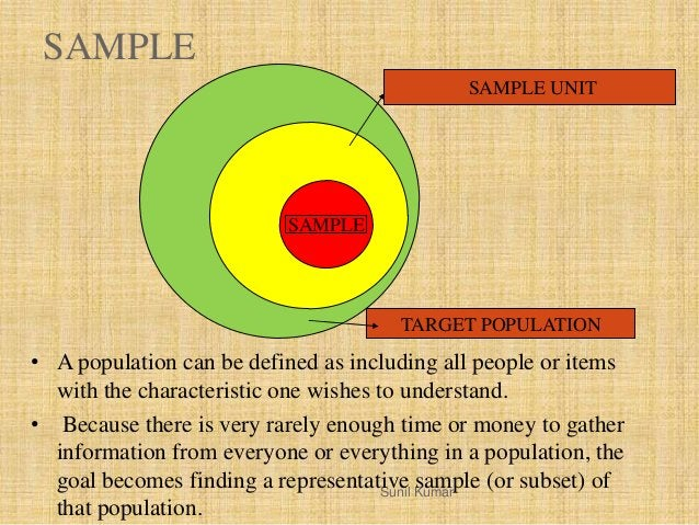 SAMPLE TARGET POPULATION SAMPLE UNIT SAMPLE Sunil Kumar • A population can be defined as including all people or items wit...