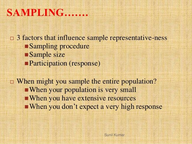 SAMPLING…….  3 factors that influence sample representative-ness Sampling procedure Sample size Participation (respons...