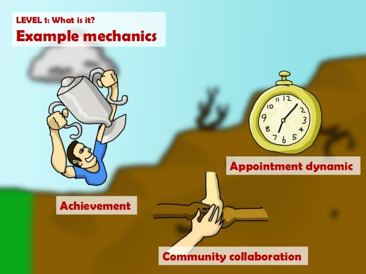 LEVEL 1: What is it?<br />Example mechanics<br />Appointment dynamic<br />Achievement<br />Community collaboration<br />