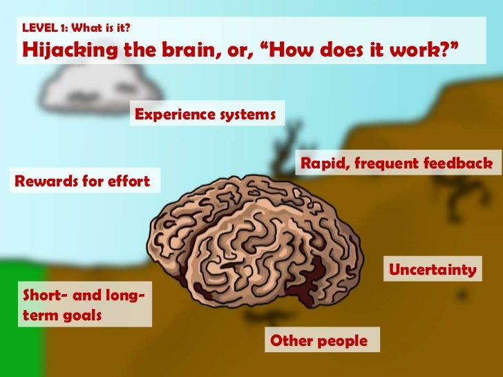 """LEVEL 1: What is it?<br />Hijacking the brain, or, """"How does it work?""""<br />Experience systems<br />Rapid, frequent feedba..."""