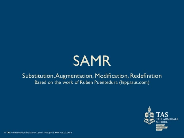 SAMR                Substitution, Augmentation, Modification, Redefinition                           Based on the work of Ru...