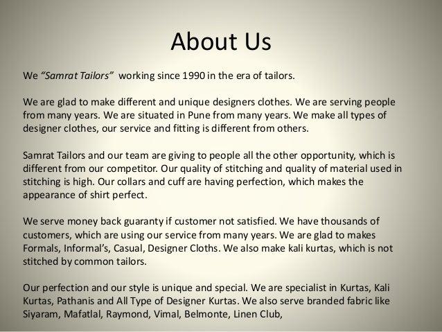 Samrat tailors ppt Slide 2