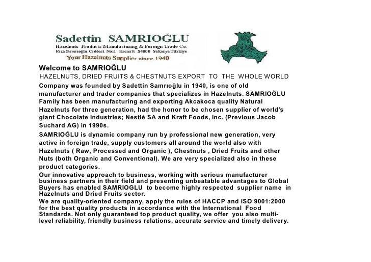 SAMRIOGLU HAZELNUTS TYPES and VARIETIES Slide 2