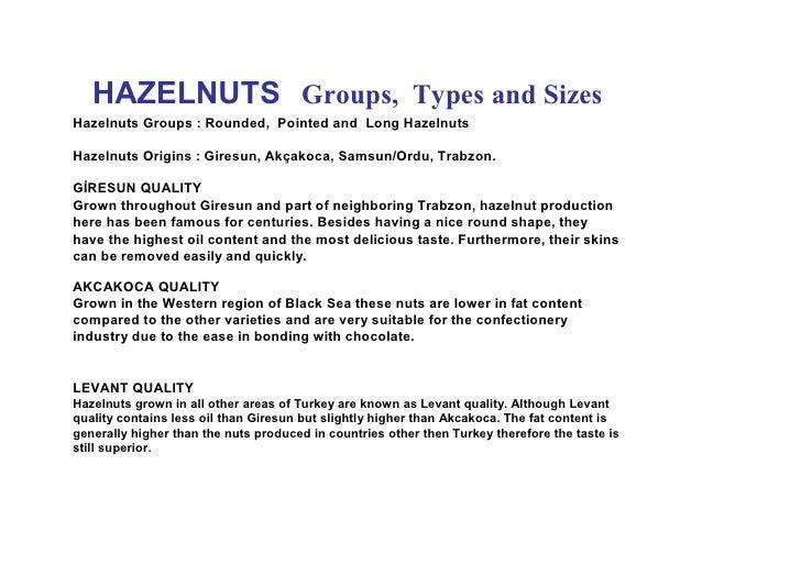 SAMRIOGLU HAZELNUTS TYPES and VARIETIES Slide 3
