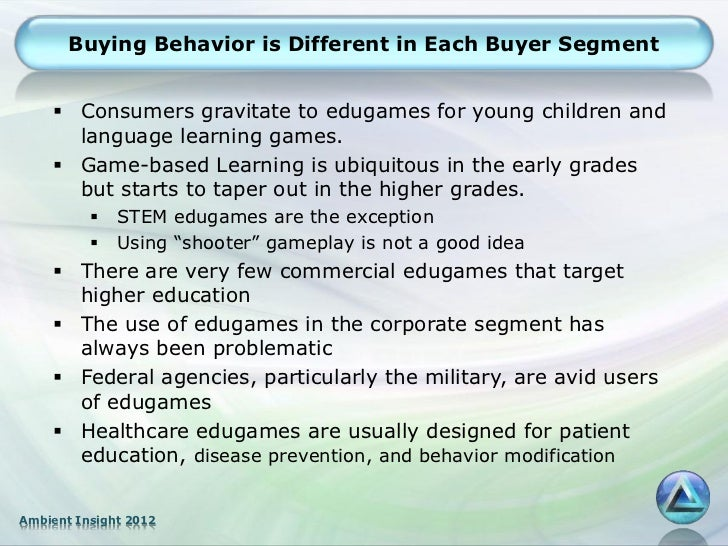 Buying Behavior is Different in Each Buyer Segment     Consumers gravitate to edugames for young children and      langua...