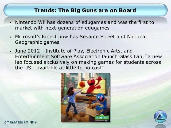 Trends: The Big Guns are on Board      Nintendo Wii has dozens of edugames and was the first to       market with next-ge...