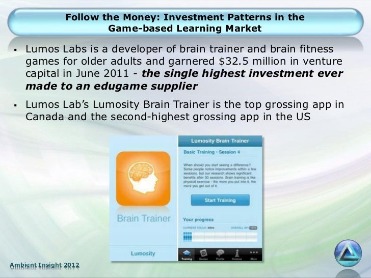 Follow the Money: Investment Patterns in the                       Game-based Learning Market    Lumos Labs is a develope...