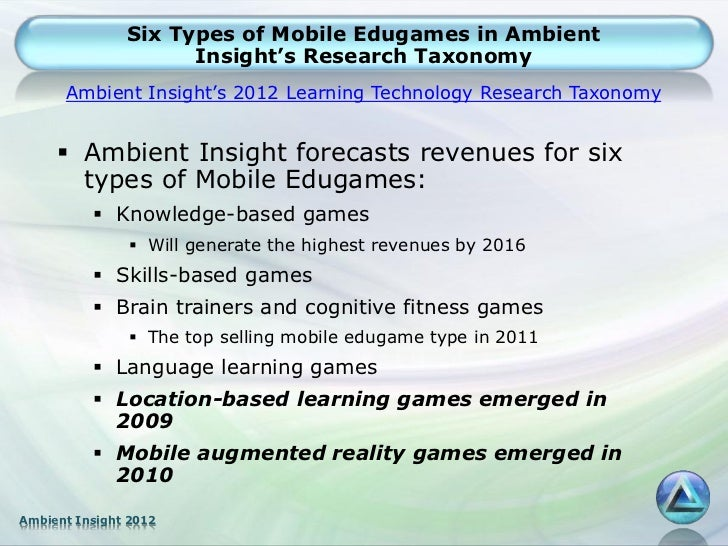 Six Types of Mobile Edugames in Ambient                     Insight's Research Taxonomy      Ambient Insight's 2012 Learni...