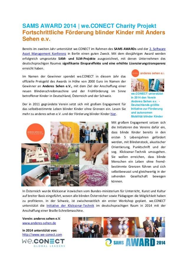 SAMS AWARD 2014 | we.CONECT Charity Projekt Fortschrittliche Förderung blinder Kinder mit Anders Sehen e.v. Bereits im zwe...