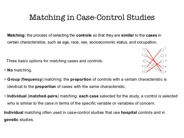 matched case control study analysis stata Conditional logistic analysis of case-control studies with complex sampling  and the case-control study is simply a  for individually matched case-control.