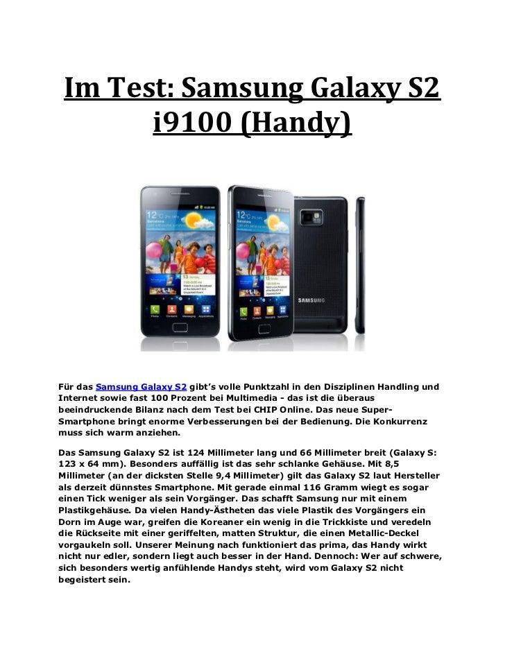 Im Test: Samsung Galaxy S2       i9100 (Handy)Für das Samsung Galaxy S2 gibt's volle Punktzahl in den Disziplinen Handling...