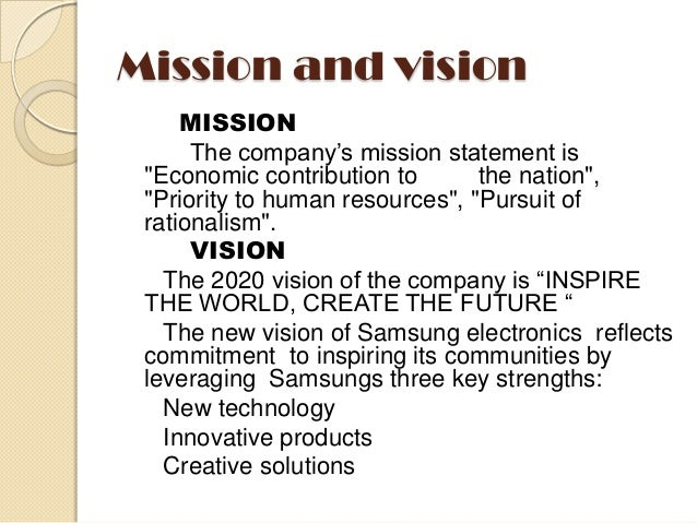Vision And Mission Of Samsung >> Vision And Mission Statement Of Samsung Term Paper Sample 1071