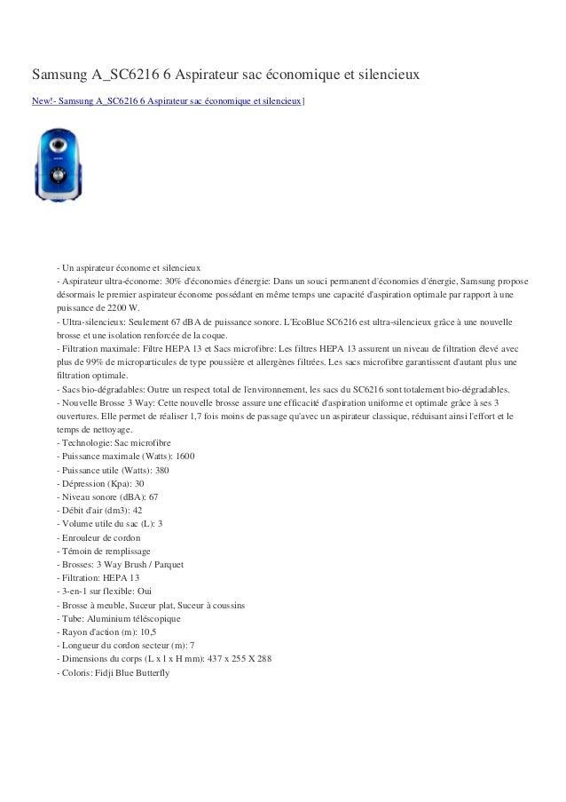 Samsung A_SC6216 6 Aspirateur sac économique et silencieuxNew!- Samsung A_SC6216 6 Aspirateur sac économique et silencieux...