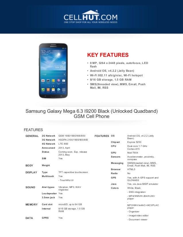 KEY FEATURES• 8 MP, 3264 x 2448 pixels, autofocus, LEDflash• Android OS, v4.2.2 (Jelly Bean)• Wi-Fi 802.11 a/b/g/n/ac, Wi-...
