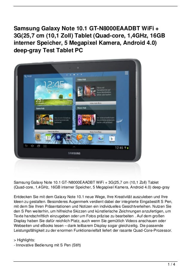 samsung galaxy note 10 1 gt n8000eaadbt wifi 3g 25 7 cm. Black Bedroom Furniture Sets. Home Design Ideas