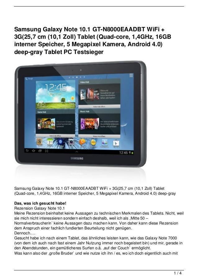 Samsung Galaxy Note 10.1 GT-N8000EAADBT WiFi +3G(25,7 cm (10,1 Zoll) Tablet (Quad-core, 1,4GHz, 16GBinterner Speicher, 5 M...