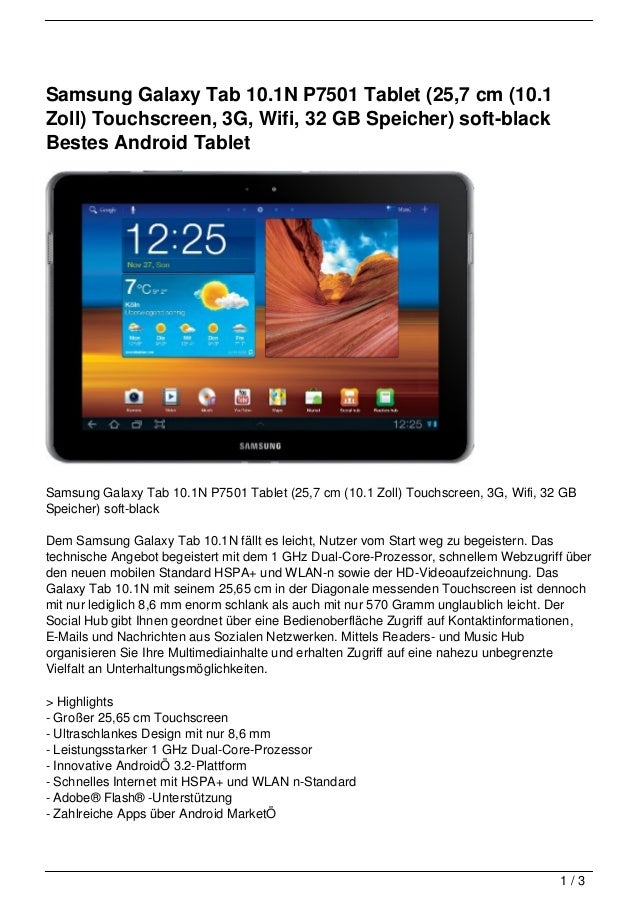 Samsung Galaxy Tab 10.1N P7501 Tablet (25,7 cm (10.1Zoll) Touchscreen, 3G, Wifi, 32 GB Speicher) soft-blackBestes Android ...