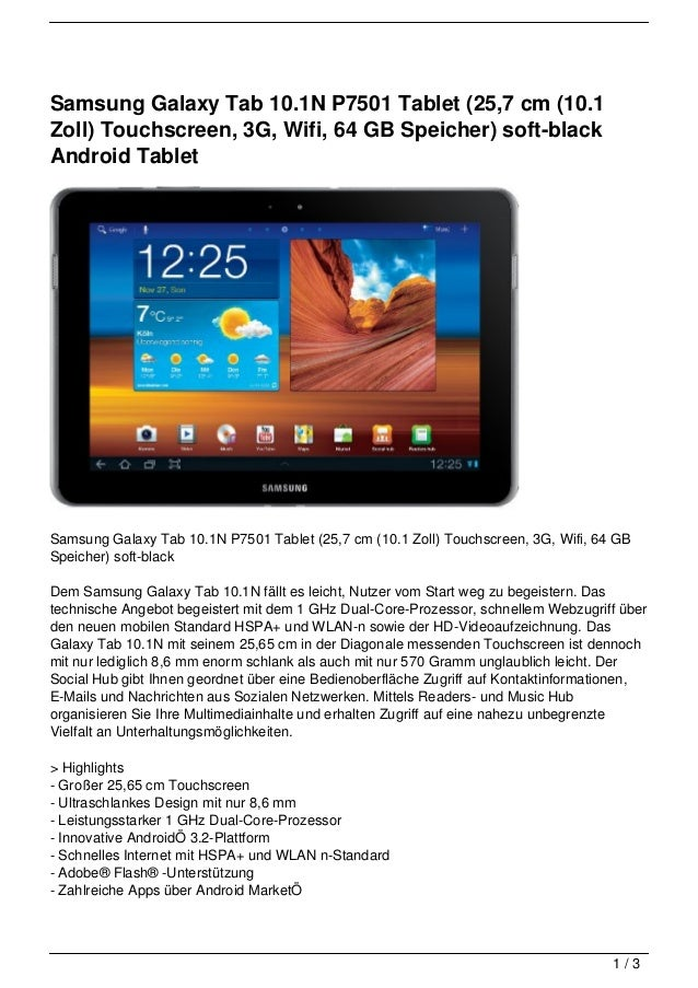 Samsung Galaxy Tab 10.1N P7501 Tablet (25,7 cm (10.1Zoll) Touchscreen, 3G, Wifi, 64 GB Speicher) soft-blackAndroid TabletS...
