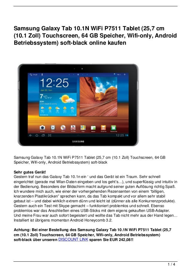 Samsung Galaxy Tab 10.1N WiFi P7511 Tablet (25,7 cm(10.1 Zoll) Touchscreen, 64 GB Speicher, Wifi-only, AndroidBetriebssyst...
