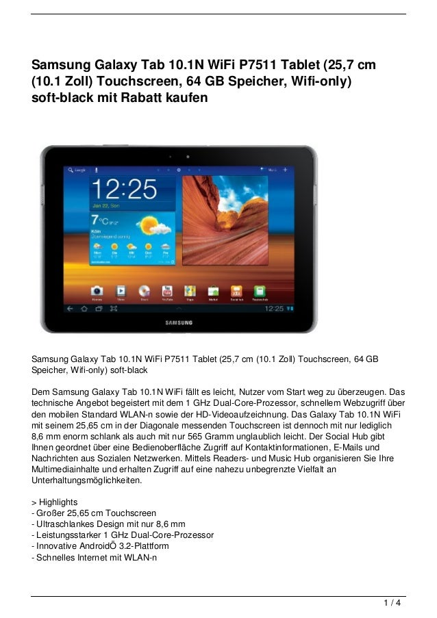 Samsung Galaxy Tab 10.1N WiFi P7511 Tablet (25,7 cm(10.1 Zoll) Touchscreen, 64 GB Speicher, Wifi-only)soft-black mit Rabat...