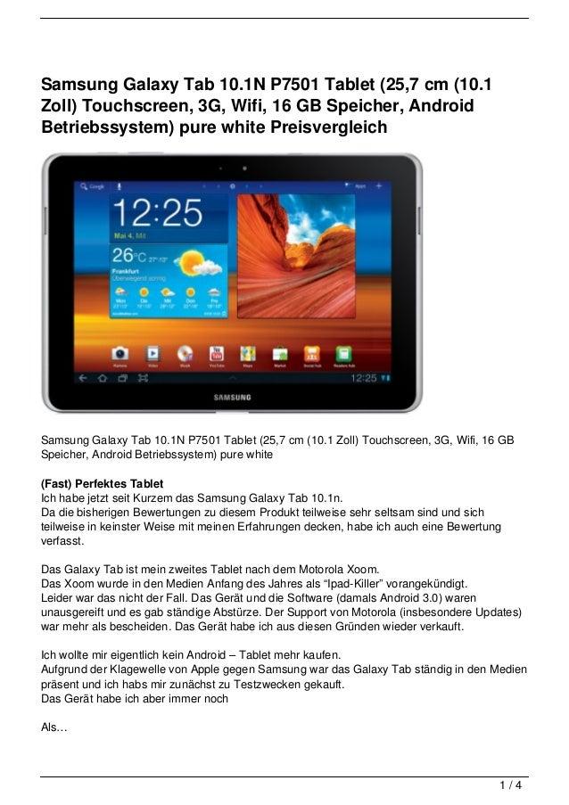 Samsung Galaxy Tab 10.1N P7501 Tablet (25,7 cm (10.1Zoll) Touchscreen, 3G, Wifi, 16 GB Speicher, AndroidBetriebssystem) pu...