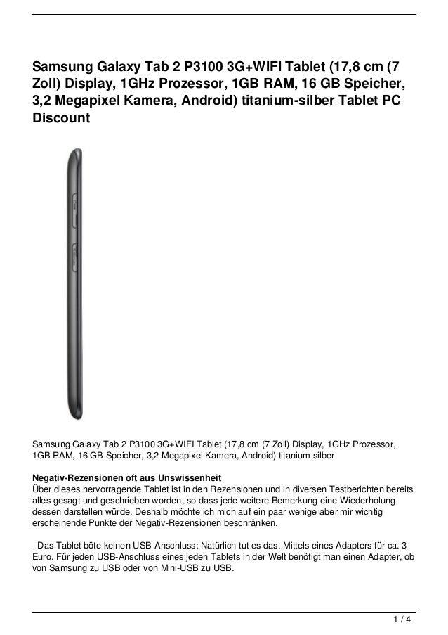 Samsung Galaxy Tab 2 P3100 3G+WIFI Tablet (17,8 cm (7Zoll) Display, 1GHz Prozessor, 1GB RAM, 16 GB Speicher,3,2 Megapixel ...