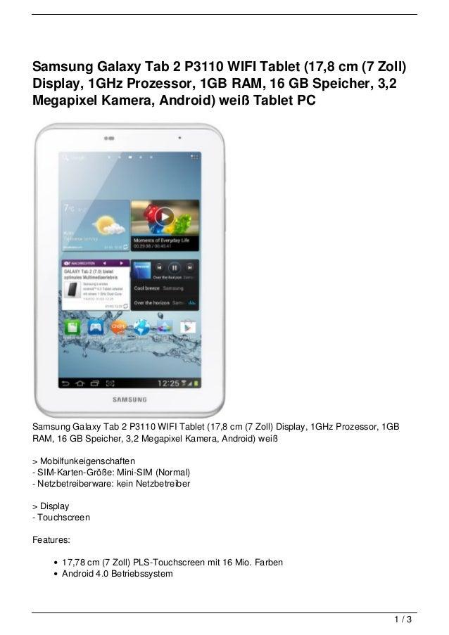 Samsung Galaxy Tab 2 P3110 WIFI Tablet (17,8 cm (7 Zoll)Display, 1GHz Prozessor, 1GB RAM, 16 GB Speicher, 3,2Megapixel Kam...