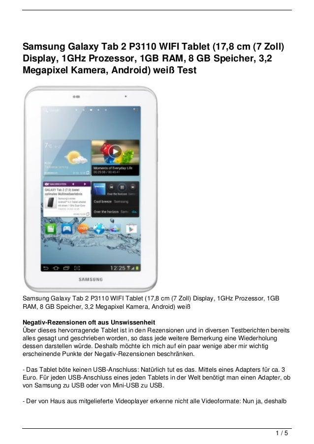 Samsung Galaxy Tab 2 P3110 WIFI Tablet (17,8 cm (7 Zoll)Display, 1GHz Prozessor, 1GB RAM, 8 GB Speicher, 3,2Megapixel Kame...