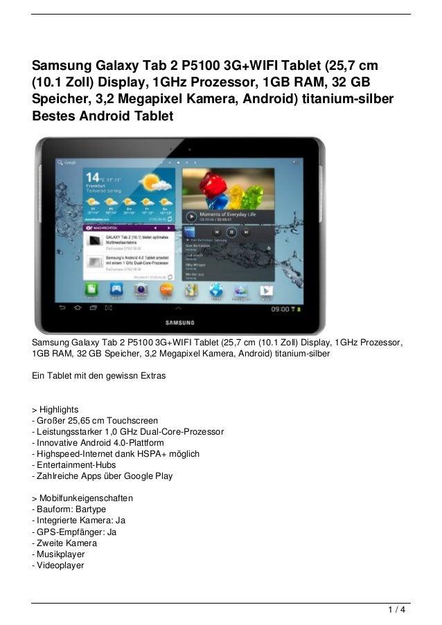 Samsung Galaxy Tab 2 P5100 3G+WIFI Tablet (25,7 cm(10.1 Zoll) Display, 1GHz Prozessor, 1GB RAM, 32 GBSpeicher, 3,2 Megapix...