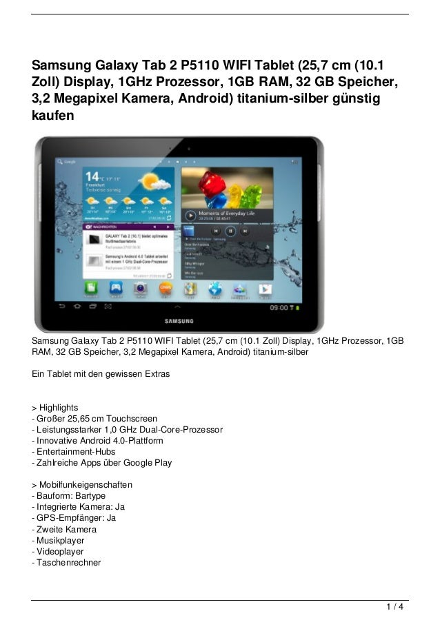 Samsung Galaxy Tab 2 P5110 WIFI Tablet (25,7 cm (10.1Zoll) Display, 1GHz Prozessor, 1GB RAM, 32 GB Speicher,3,2 Megapixel ...