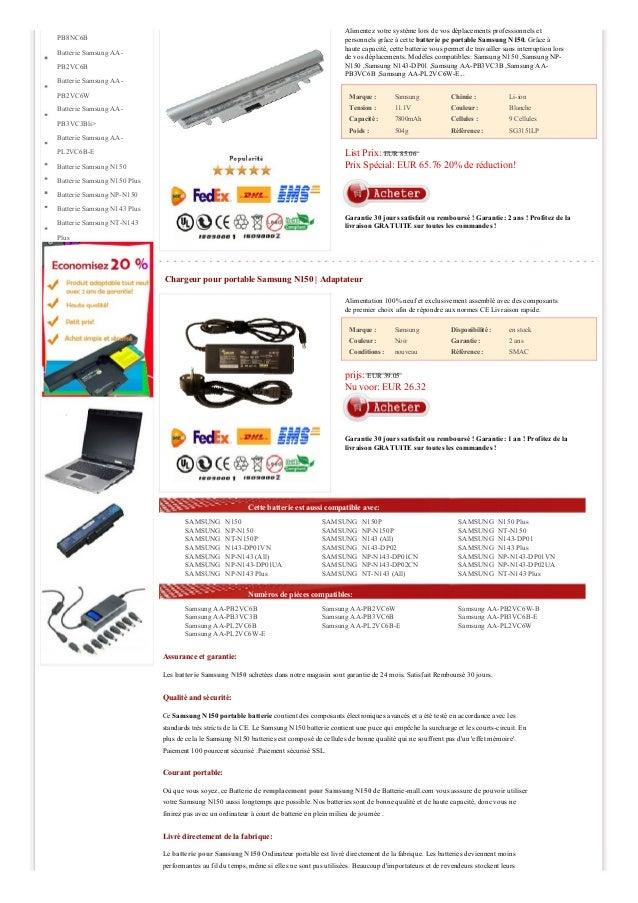 Alimentez votre système lors de vos déplacements professionnels et personnels grâce à cette batterie pc portable Samsung N...
