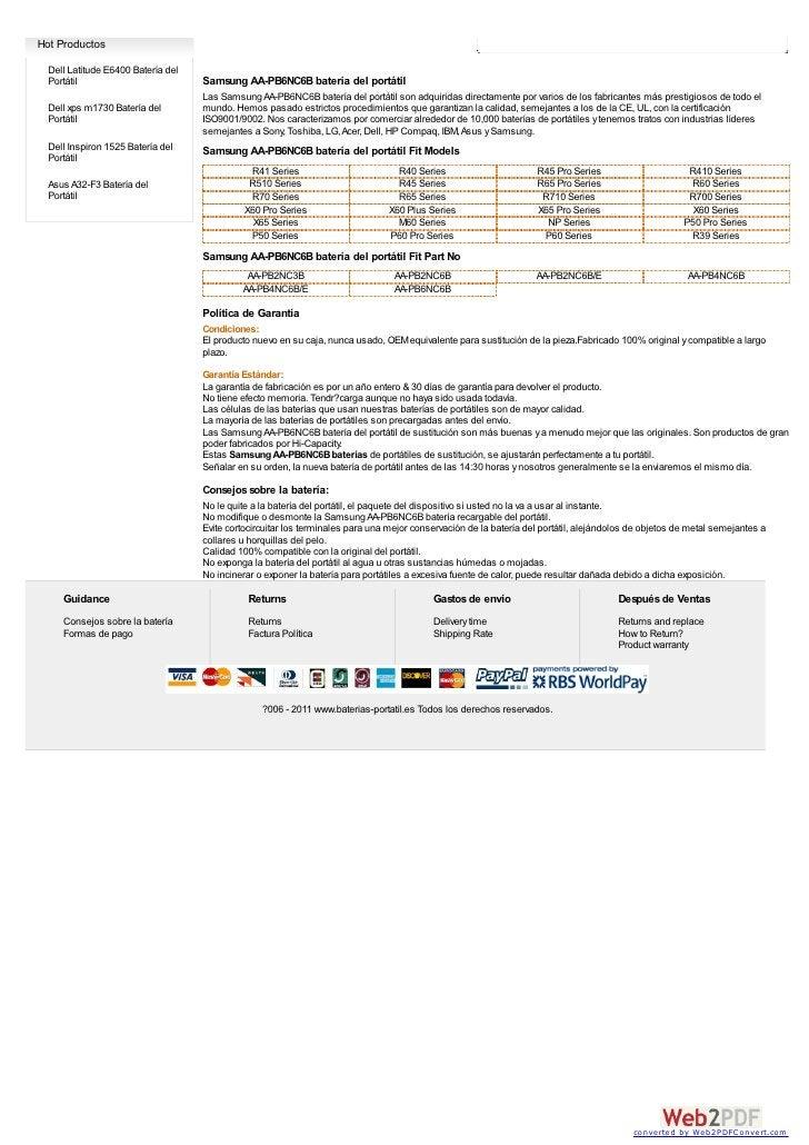 Hot Productos  Dell Latitude E6400 Batería del  Portátil                          Samsung AA-PB6NC6B batería del portátil ...