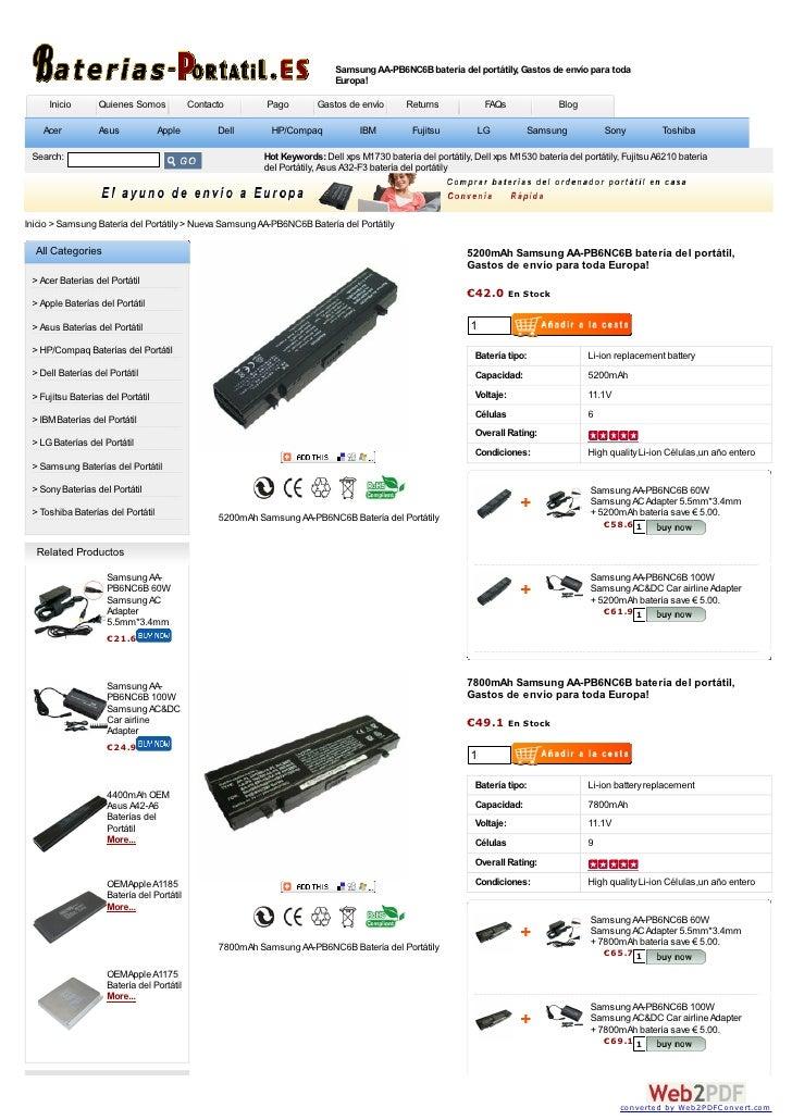Samsung AA-PB6NC6B batería del portátily, Gastos de envío para toda                                                       ...