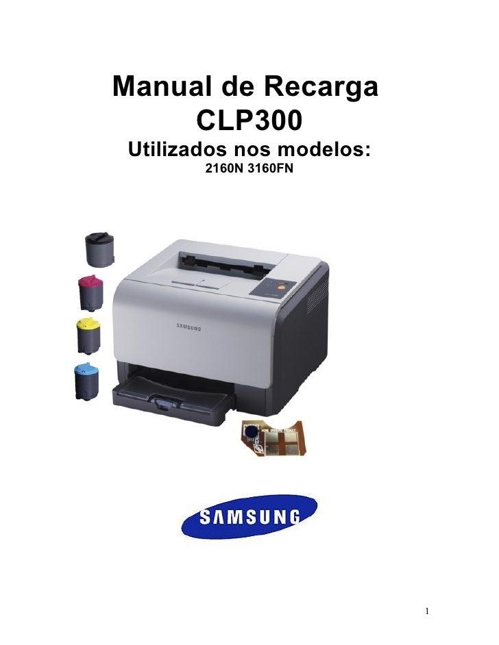 Manual de Recarga     CLP300  Utilizados nos modelos:         2160N 3160FN                                1