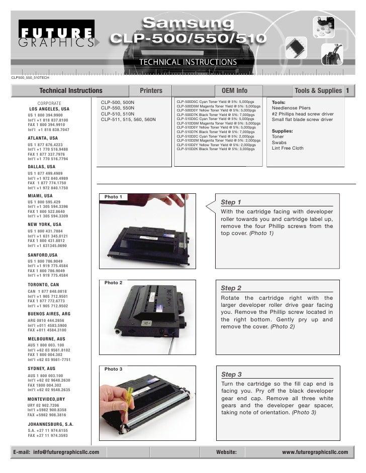 CLP500_550_510TECH                Technical Instructions                    Printers                           OEM Info   ...