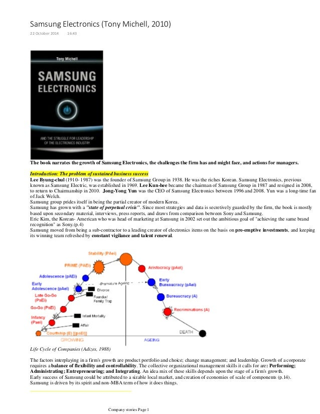 samsung electronics case study solution Samsung electronics case solution topics: semiconductor companies, computer memory companies, hynix pages: 2 (586 words) published case facts: samsung is korean conglomerate with annual net sales of $135 billion in 2004 the entire business is divided into 5 major divisions.