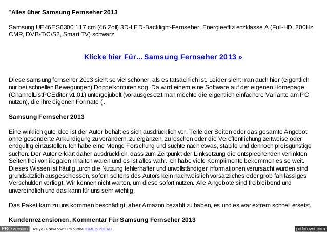 """""""Alles über Samsung Fernseher 2013  Samsung UE46ES6300 117 cm (46 Zoll) 3D-LED-Backlight-Fernseher, Energieeffizienzklasse..."""