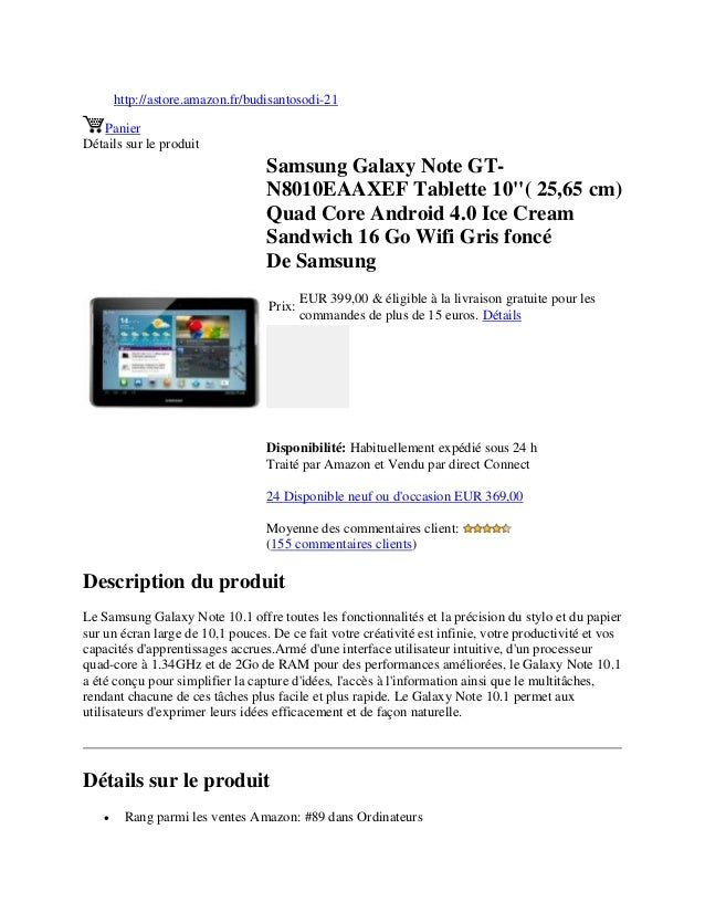 http://astore.amazon.fr/budisantosodi-21PanierDétails sur le produitSamsung Galaxy Note GT-N8010EAAXEF Tablette 10( 25,65 ...
