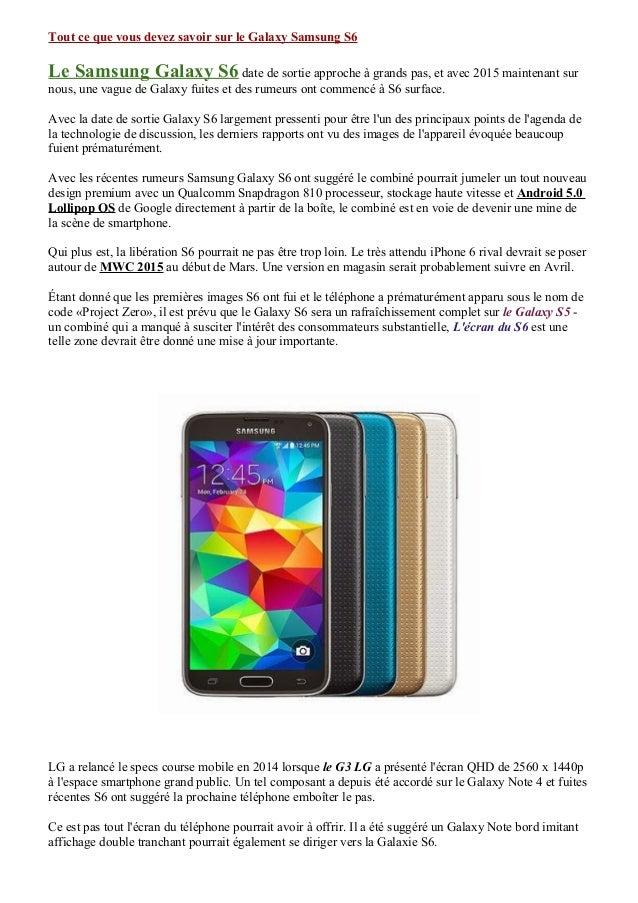 Tout ce que vous devez savoir sur le Galaxy Samsung S6 Le Samsung Galaxy S6 date de sortie approche à grands pas, et avec ...
