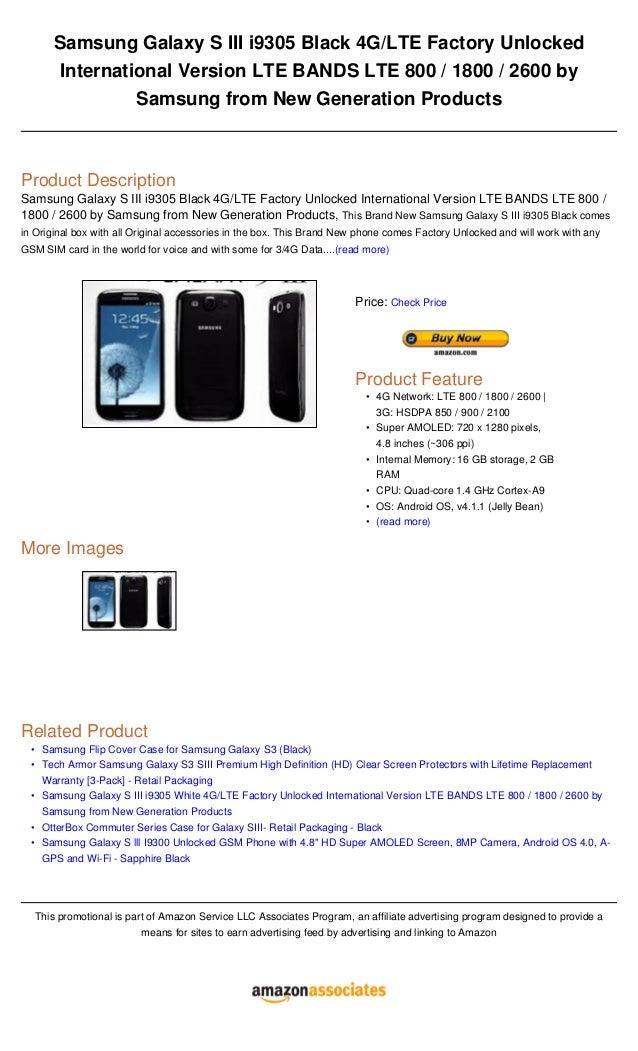Samsung galaxy s iii i9305 black 4 glte factory unlocked internationa…