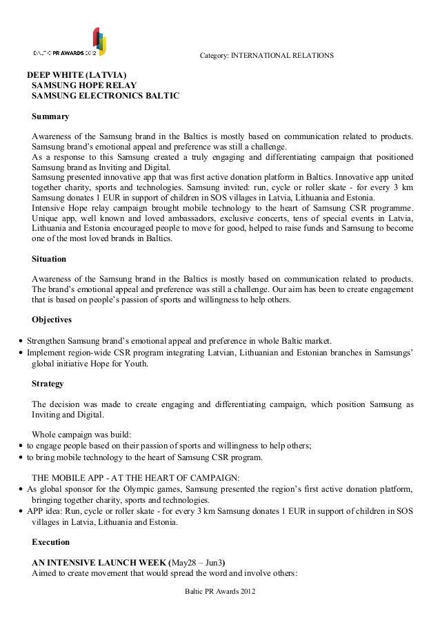 Category: INTERNATIONAL RELATIONS  DEEP WHITE (LATVIA)   SAMSUNG HOPE RELAY   SAMSUNG ELECTRONICS BALTIC   Summary   Aware...