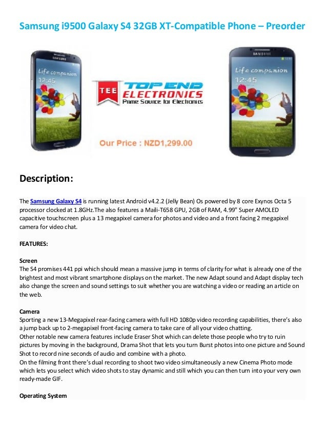 Samsung i9500 Galaxy S4 32GB XT-Compatible Phone – PreorderDescription:The Samsung Galaxy S4 is running latest Android v4....
