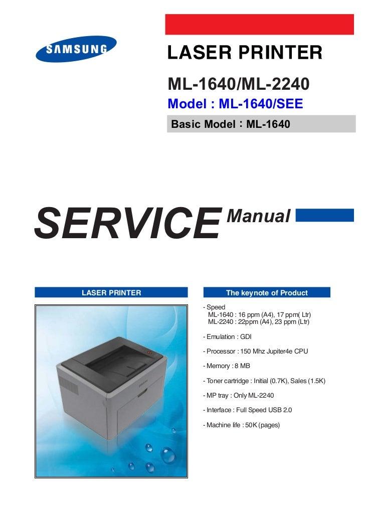 ML-1640/ML-2240                 Model : ML-1640/SEE                 Basic Model : ML-1640SERVICE                        Ma...
