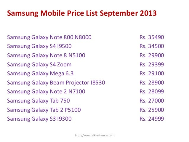 Samsung mobile price list with picture