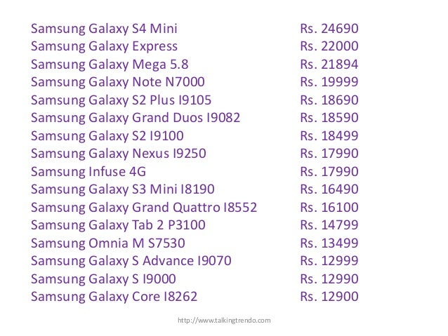 samsung mobile price list   talking trendo