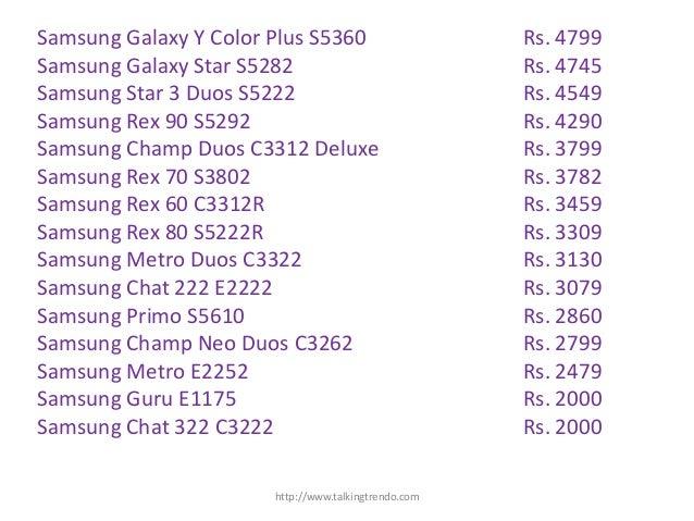 New Model Price List Samsung Mobile Price