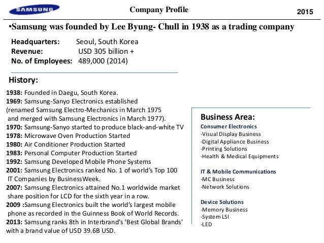 samsung electronics company analysis and overview See samsung electronics co ltd's 10 year historical growth, profitability, financial, efficiency, and cash flow ratios.