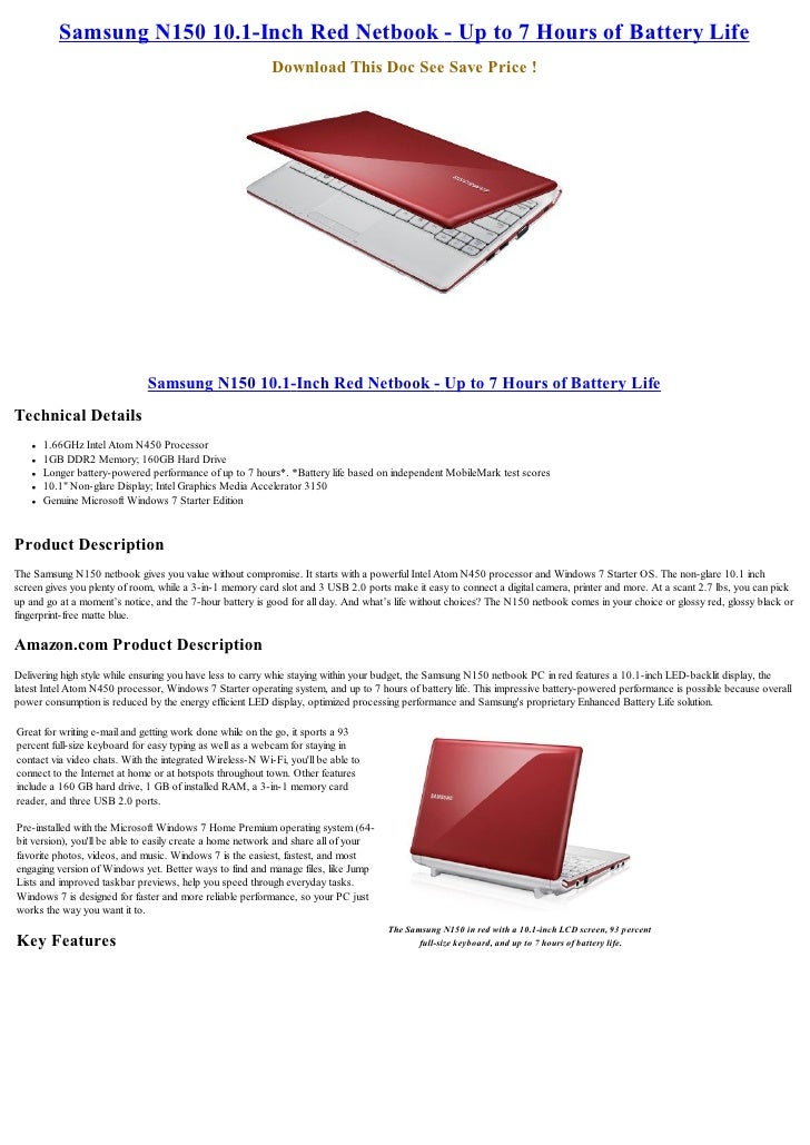 Samsung N150 10.1-Inch Red Netbook - Up to 7 Hours of Battery Life                                                        ...