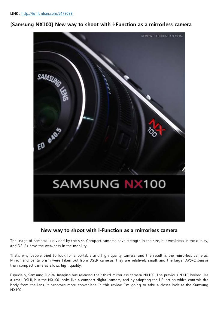 LINK : http://funfunhan.com/2473088[Samsung NX100] New way to shoot with i-Function as a mirrorless camera                ...