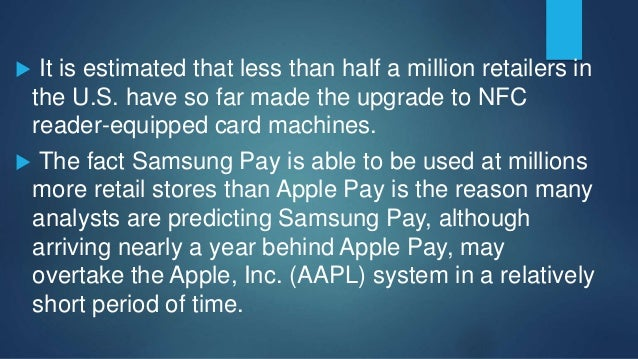  NFC reader machines are already the standard in Europe, and the likelihood is credit card companies such as Visa and Mas...
